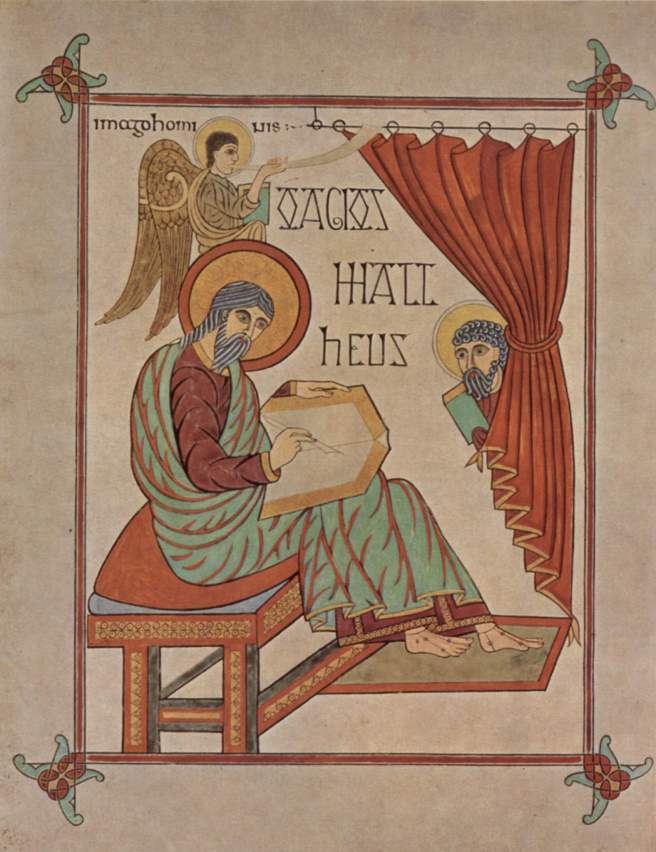 Matthew Writing His Gospel - Lindisfarne Gospel Book (c. 715-720)